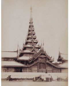 [Photographer unknown]. Mandalay Palace Throne Room with Nine-tiered Pyatthat Spire.