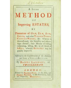Batty Langley, A sure method of improving estates, first edition, 8vo, 1728 - 1