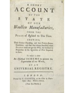Samuel Webber, Short Account of the State of our Woollen Manufacturies - 1
