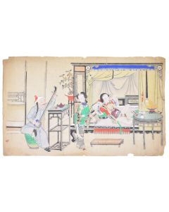 [EROTICA] - A pair of Chinese erotic watercolours.