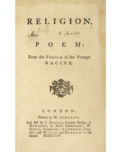 Louis Racine, Religion, a Poem, first edition in English, 1754 - 1