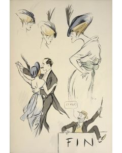 SEM [pseud. of Georges GOURSAT]. Tangoville sur Mer: A lithograph of Tango Dancing.