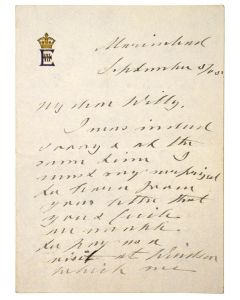 Edward VII, autograph letter signed, to Crown Prince Wilhelm, 1905 - 1