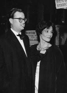 John Mortimer and his wife at the Theatre Royal, London, 1960