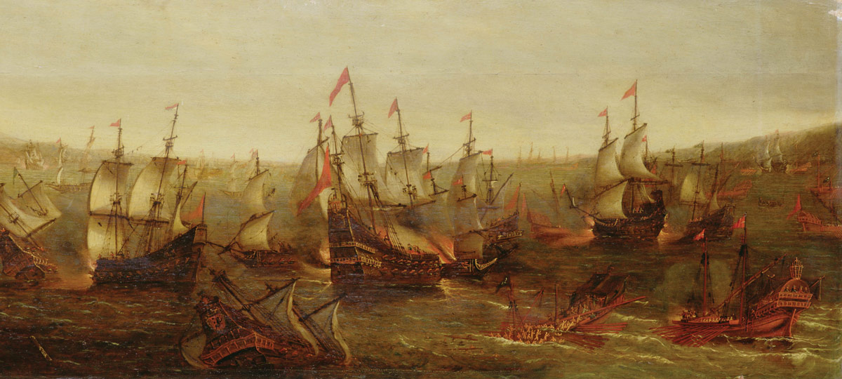 An Action between Spanish Ships and Barbary Galleys in a Mediterranean Harbour by Jacob Feyt de Vries